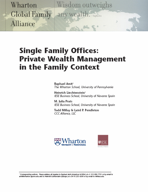 Single Family Offices: Private wealth management in the family context